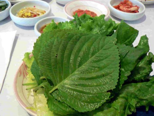 perilla leaves in a plate for Korean BBQ